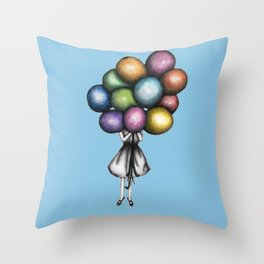 Throw Pillow - Balloon Girl in Blue - ECMazur