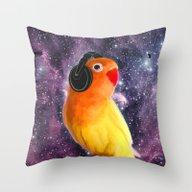 Bird Listening To Music … Throw Pillow