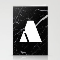 Black Marble - Alphabet A Stationery Cards