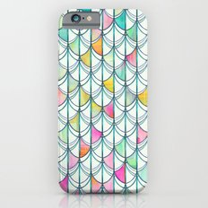 Pencil & Paint Fish Scale Cutout Pattern - white, teal, yellow & pink iPhone 6 Slim Case