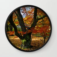 Red Autumnal Leaves Wall Clock