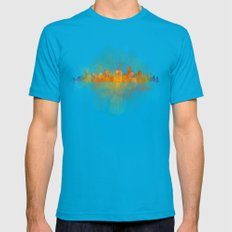 Austin Texas, City Skyline, watercolor  Cityscape Hq v4 Dark Mens Fitted Tee Teal SMALL