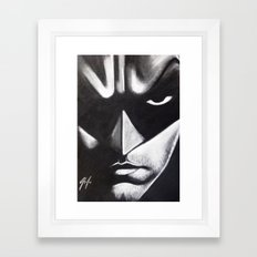 DARK HERO FACE Framed Art Print