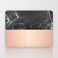 Black Marble And Pink  Laptop & iPad Skin