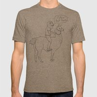 Follow That Llama ! Mens Fitted Tee Tri-Coffee SMALL