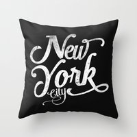 New York City vintage typography Throw Pillow