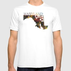 Maryland White SMALL Mens Fitted Tee