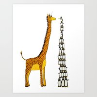 Who is taller Giraffe or Penguins? Art Print