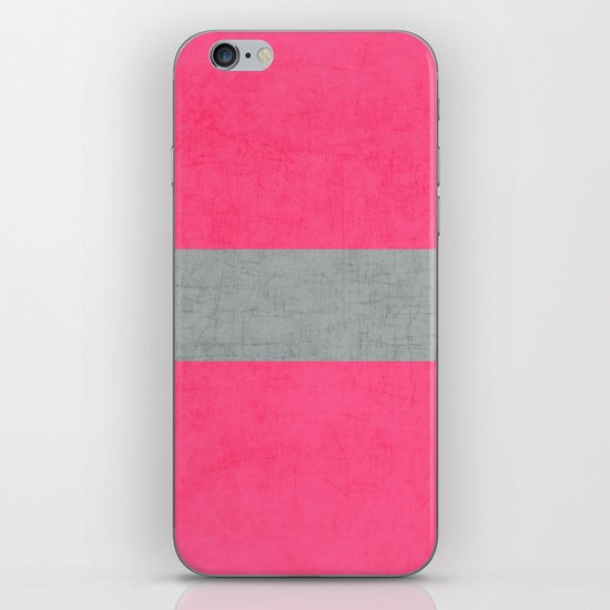 hot pink and gray classic iPhone & iPod Skin