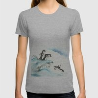 Jumping Penguins - Watercolor Womens Fitted Tee Athletic Grey SMALL