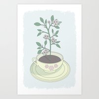 Yellow Planted Teacup Art Print