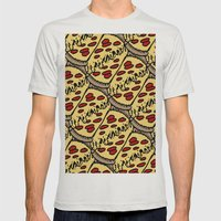 Pattern Pizza Mens Fitted Tee Silver SMALL