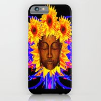 iPhone Cases featuring Bronze Buddha Head & Sunflowers Black-Yellow-BLue Abstract by sharlesart