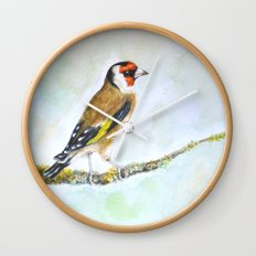 European goldfinch on tree branch Wall Clock