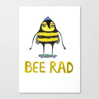 Bee. bee art, bee illustration, nature, illustration, wall, kids, skater, skateboarding, rad,  Canvas Print