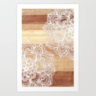 White Doodles On Blonde … Art Print