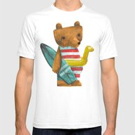 Summer Bear Mens Fitted Tee White SMALL