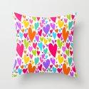 Cute colorful heart Throw Pillow
