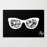 Diamond Eyes White On Bl… Canvas Print