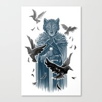 Wolf And Ravens Canvas Print