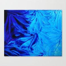 PETAL PINWHEELS - Deep Indigo Blue Royal Blue Turquoise Floral Pattern Swirls Ocean Water Flowers Canvas Print
