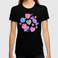Candy Candy Womens Fitted Tee Black SMALL