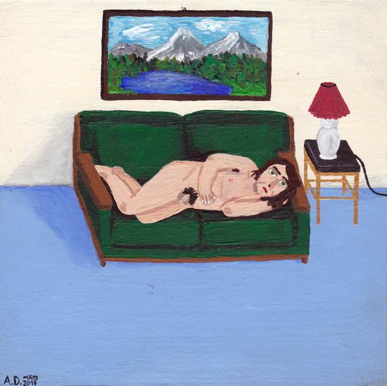 Nude on a green couch Art Print