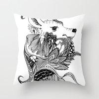 Inking Deer Throw Pillow