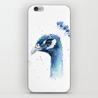 Peacock Watercolor Painting iPhone & iPod Skin