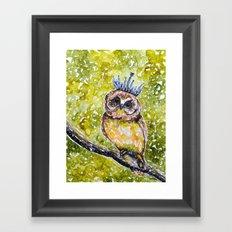 Owl with crystal crown Framed Art Print