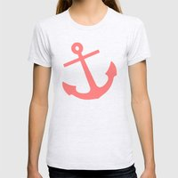Coral Anchor Womens Fitted Tee Ash Grey SMALL