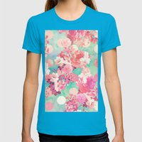 Romantic Pink Retro Flor… Womens Fitted Tee Teal SMALL