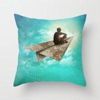 Paper Aeroplane Throw Pillow