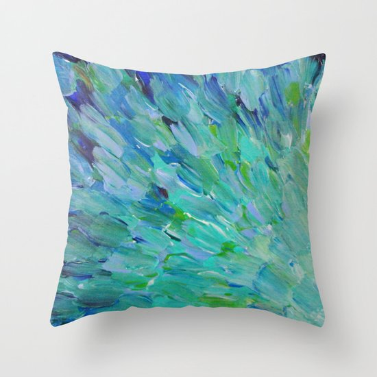 SEA SCALES - Beautiful Ocean Theme Peacock Feathers Mermaid Fins Waves Blue Teal Color Abstract Throw Pillow