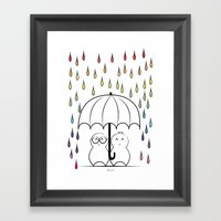 Mimos under Rainbow rain Framed Art Print