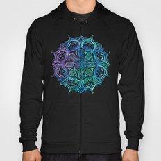 Iridescent Aqua and Purple Watercolor Mandala Hoody