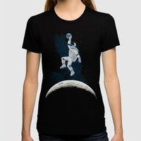 SPACE SLAM DUNK Womens Fitted Tee Black SMALL