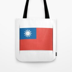 Flag of Taiwan.  The slit in the paper with shadows. Tote Bag