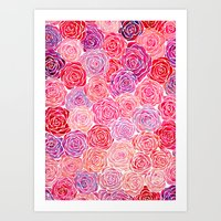 Watercolour Roses Art Print