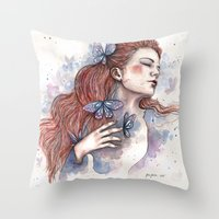 Girl With A Butterfly II… Throw Pillow