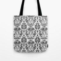 Cat Damask (Black&White) Tote Bag