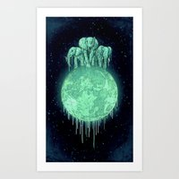 Elephants On Moon (varia… Art Print