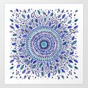 Indigo Flowered Mandala Art Print