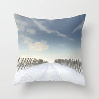 Vineyards in the snow Throw Pillow
