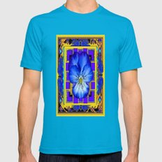 Blue Pansy In Gold & Pur… Mens Fitted Tee Teal SMALL