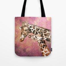 Baby And Mom Giraffe Tote Bag