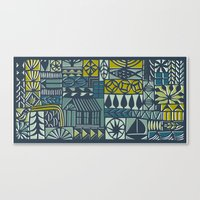 polymorphic blues and greens Canvas Print