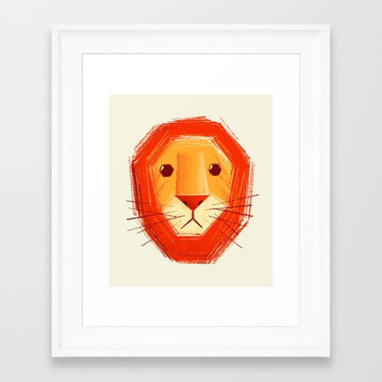 Sad lion Framed Art Print