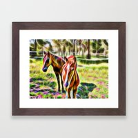 Horses In A Field Framed Art Print