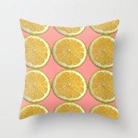 Lemons Citrus Fruit Colo… Throw Pillow
